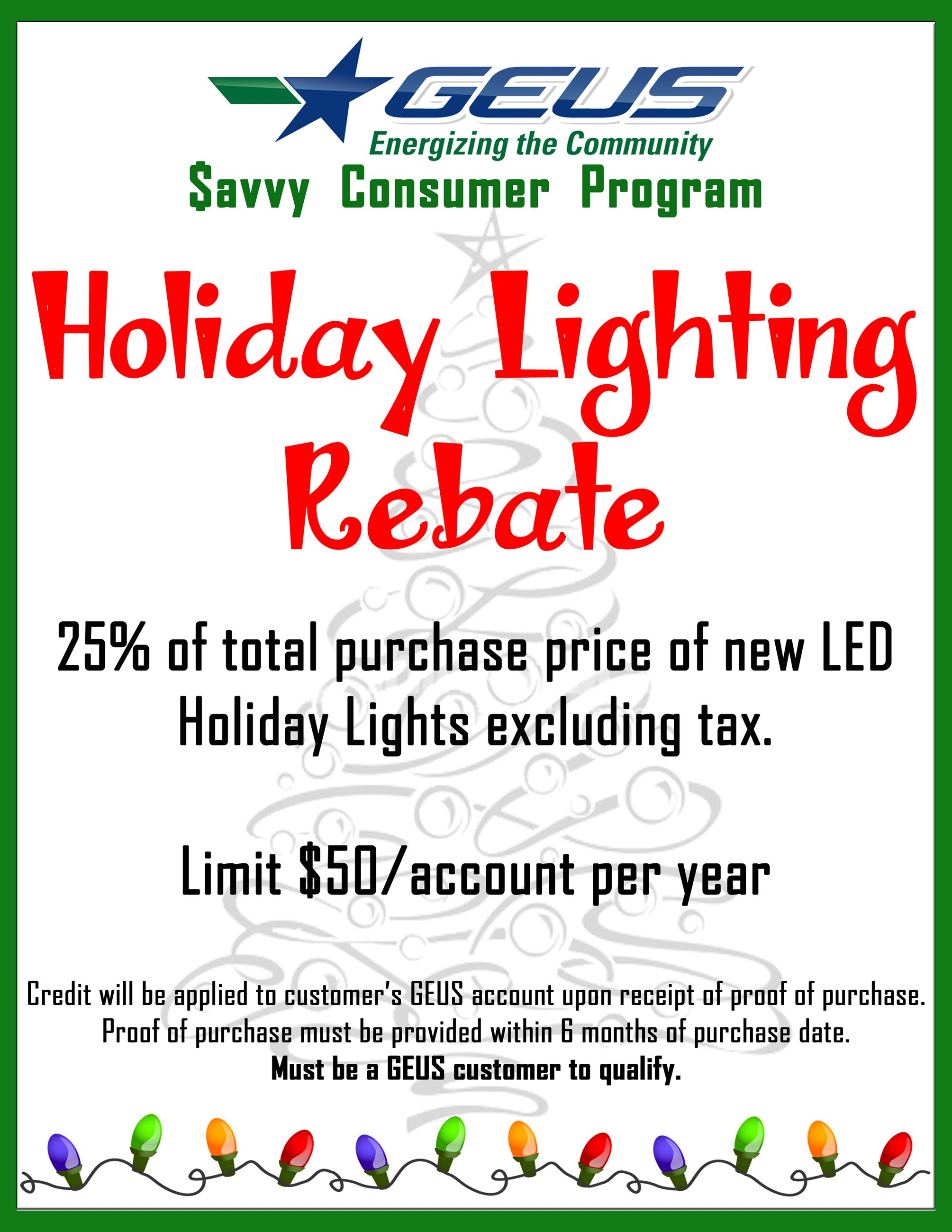 Holiday Lighting Rebate Flyer